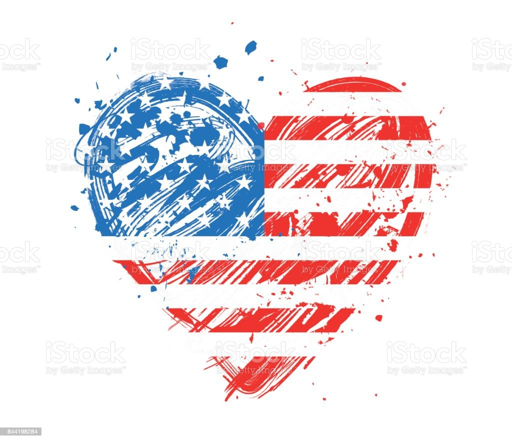 American flag over grungy heart vector art illustration