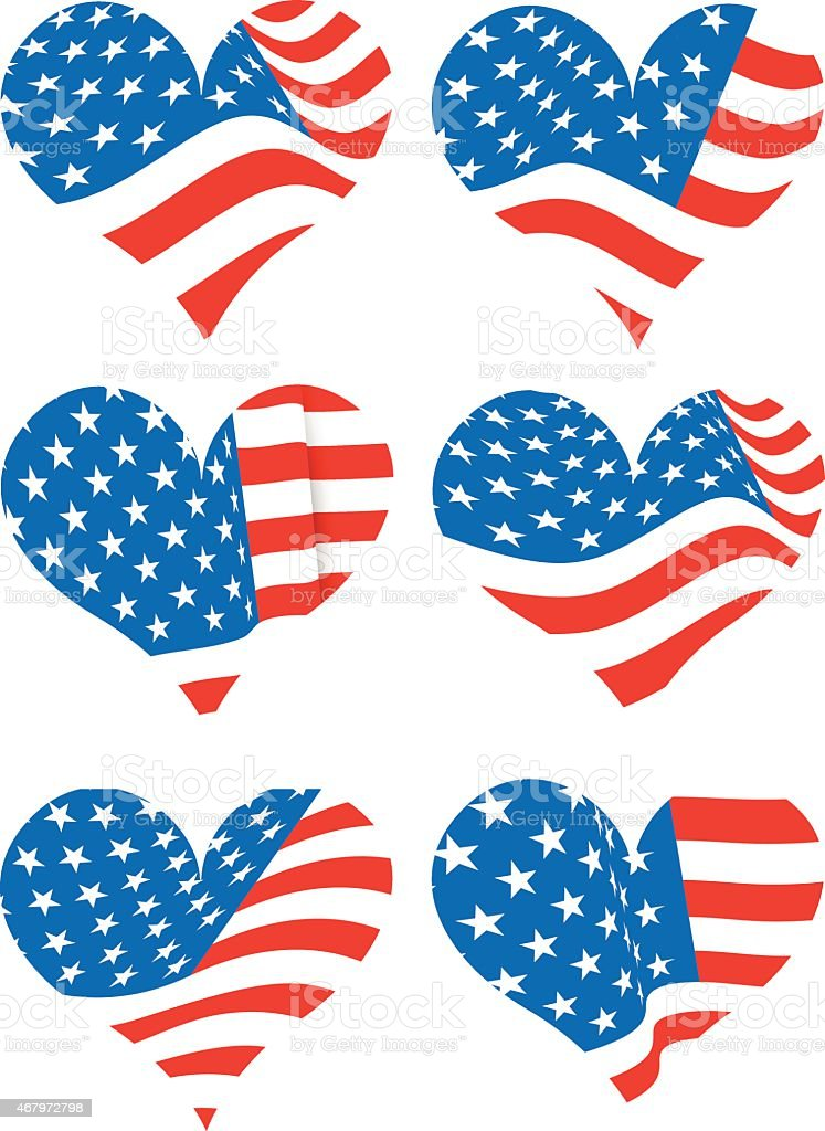 American flag over hearts vector art illustration