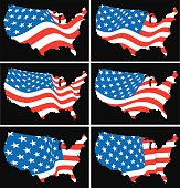 American flag over map of United States