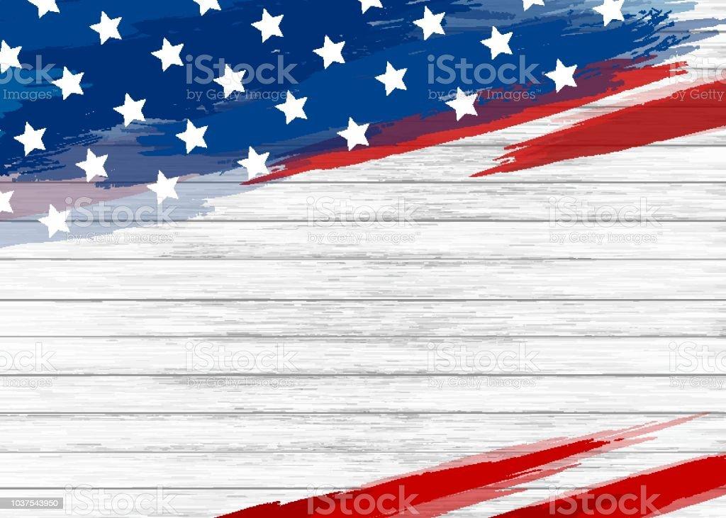 Amerikanische Flagge Farbe auf weißem Hintergrund Holz-Vektor-illustration – Vektorgrafik