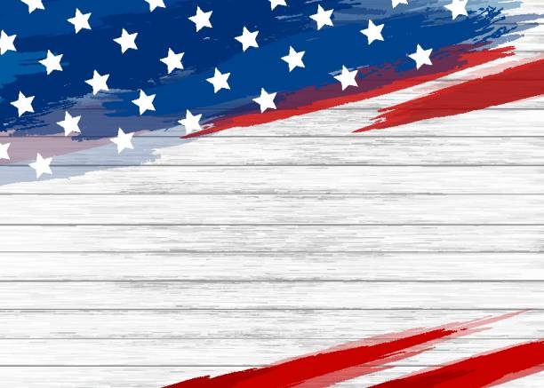 american flag paint on white wood background vector illustration - us flag stock illustrations