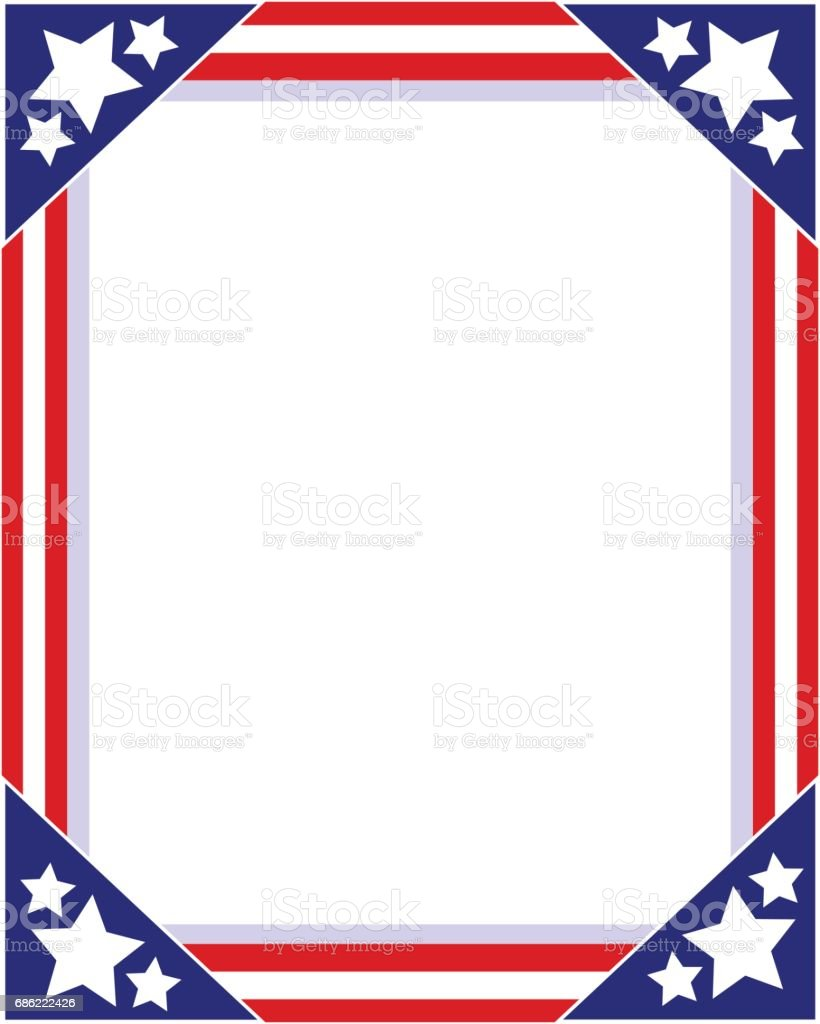 American flag Patriotic picture frame vector art illustration
