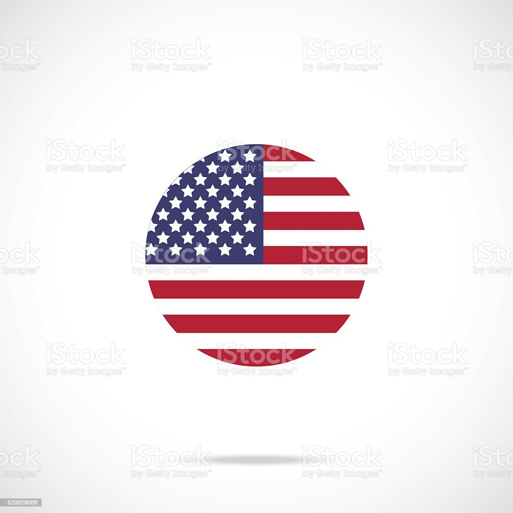 American flag round icon. US flag icon official color scheme vector art illustration