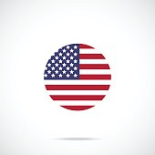 American flag round icon. US flag icon official color scheme