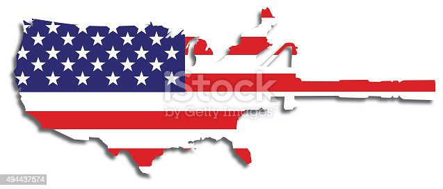 Vector illustration of and american flag shaped like a map of the United States and a semi-automatic rifle combined.