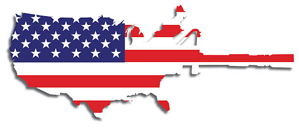 American Flag Semi-automatic Weapon vector art illustration