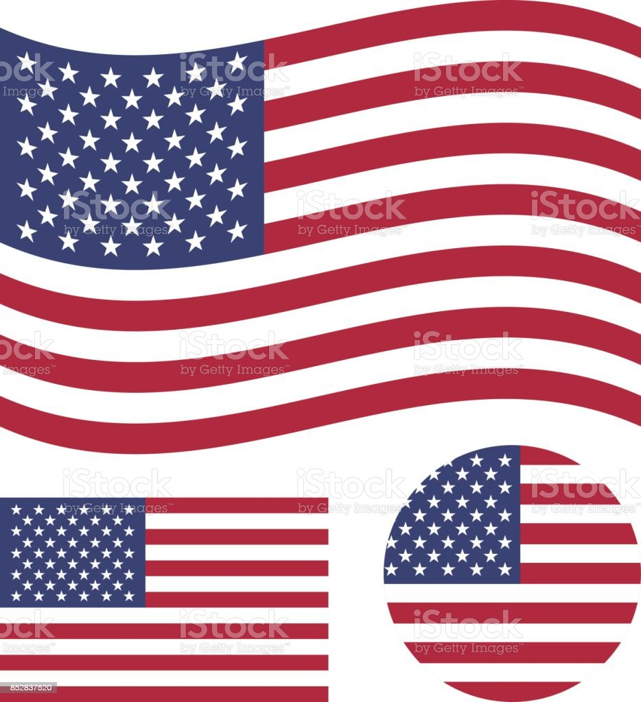 American flag set. Rectangular, waving and round circle US flag. United States national symbol. Vector icons