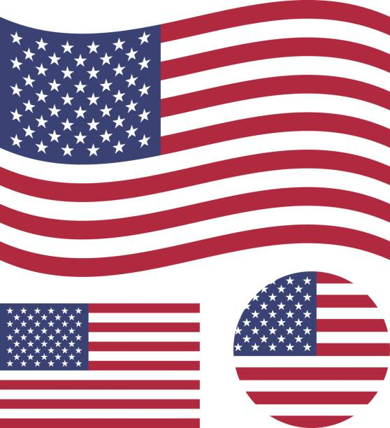 american flag set. rectangular, waving and round circle us flag. united states national symbol. vector icons - american flag stock illustrations