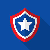 Vector illustration of an American flag themed shield with star against a blue background in flat style.