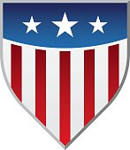 American flag-inspired shield with stars and stripes.