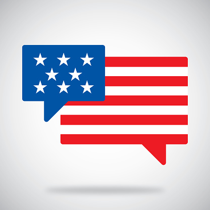 Vector illustration of two speech bubbles with USA flag styled stars and stripes against a grey background.