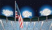 American Flag Under Sports Stadium Lights
