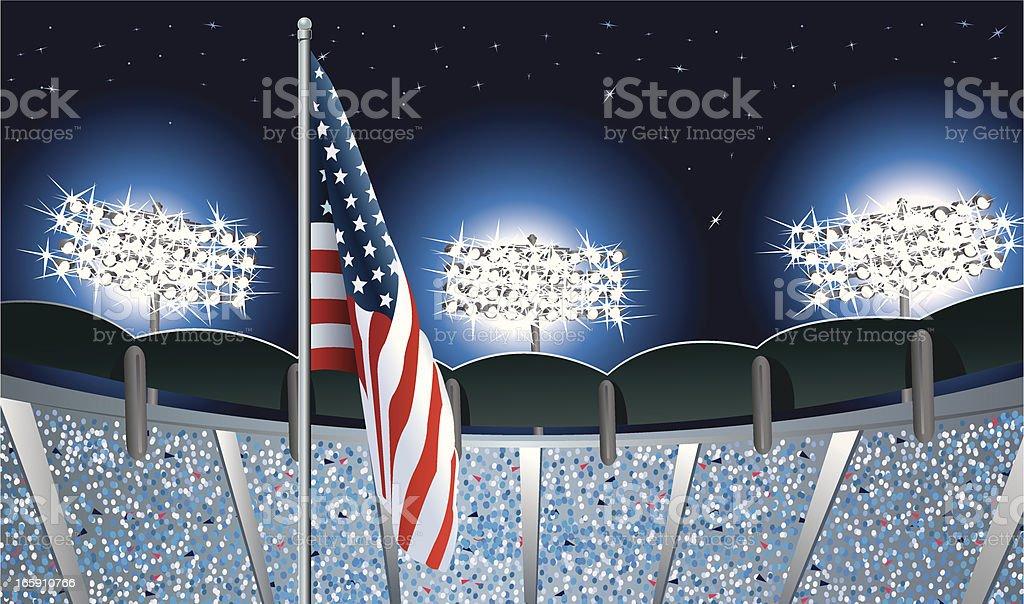 アメリカ国旗のスポーツスタジアムの夜景 ベクターアートイラスト