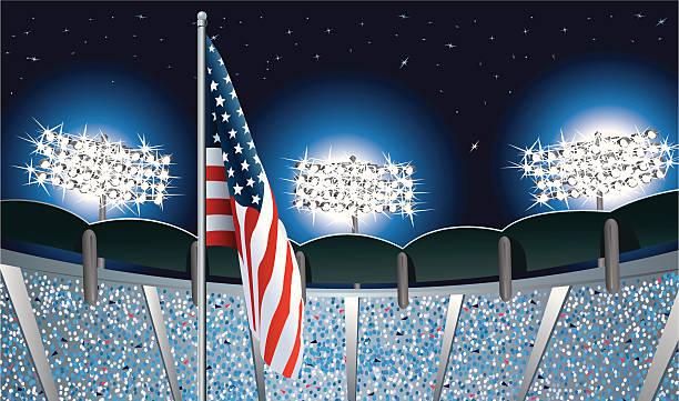 アメリカ国旗のスポーツスタジアムの夜景 - グランドオープン点のイラスト素材/クリップアート素材/マンガ素材/アイコン素材