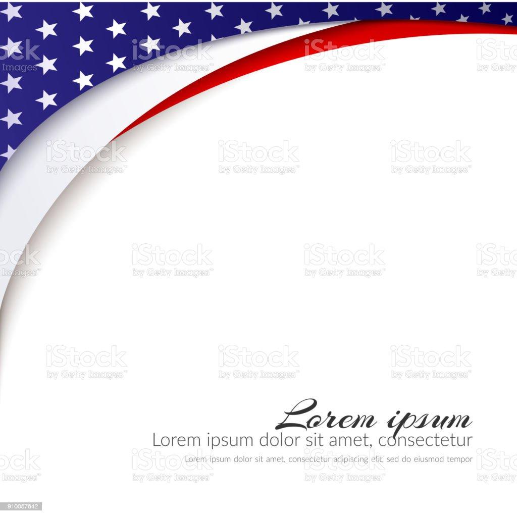 Fundo de Vector de bandeira americana para o dia da independência e outros antecedentes de eventos patrióticos com estrelas e suave ondulado linhas padrão da patriótica ilustração do símbolo abstrato cor vermelha branca e azul - ilustração de arte em vetor