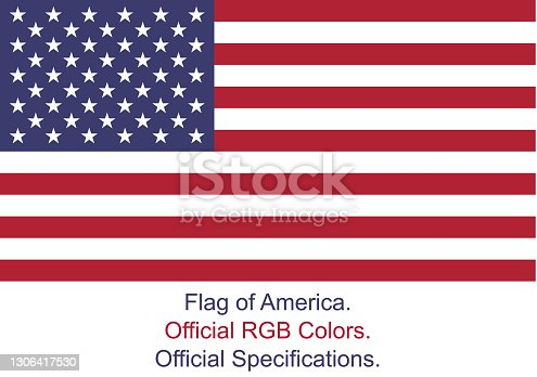 istock American Flag (Official RGB Colors and Specifications) 1306417530