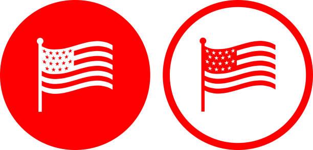 American Flag. vector art illustration