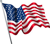 drawn of vector bright American flag symbol.This file has been used illustrator CS3 EPS10 version feature of multiply.