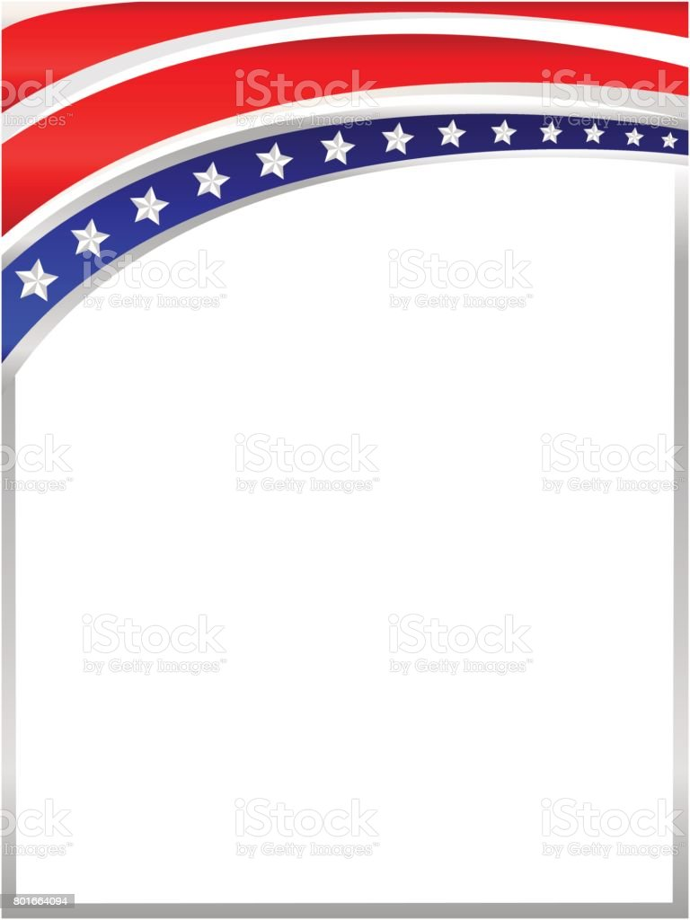 Amerikanische Flagge Wave Rahmen Vektor Illustration 801664094 | iStock