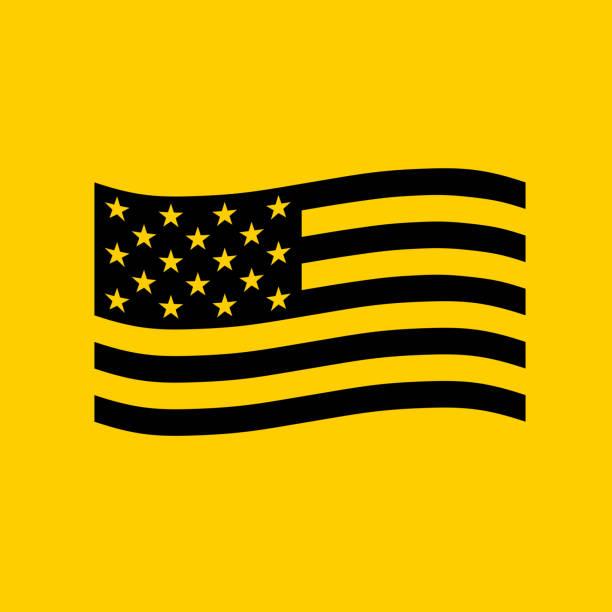 American Flag Waving. vector art illustration