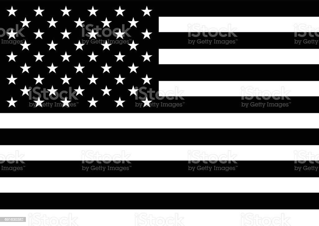 American flag with 50 stars in black and white vector art illustration