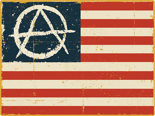 American Flag with Anarchy Symbol American Flag with Anarchy Symbol anarchy symbol stock illustrations