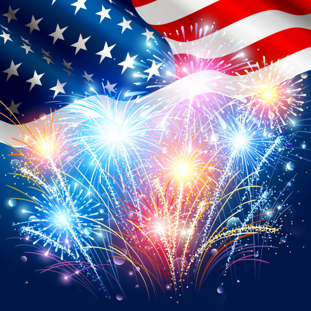 American flag with colored fireworks vector art illustration
