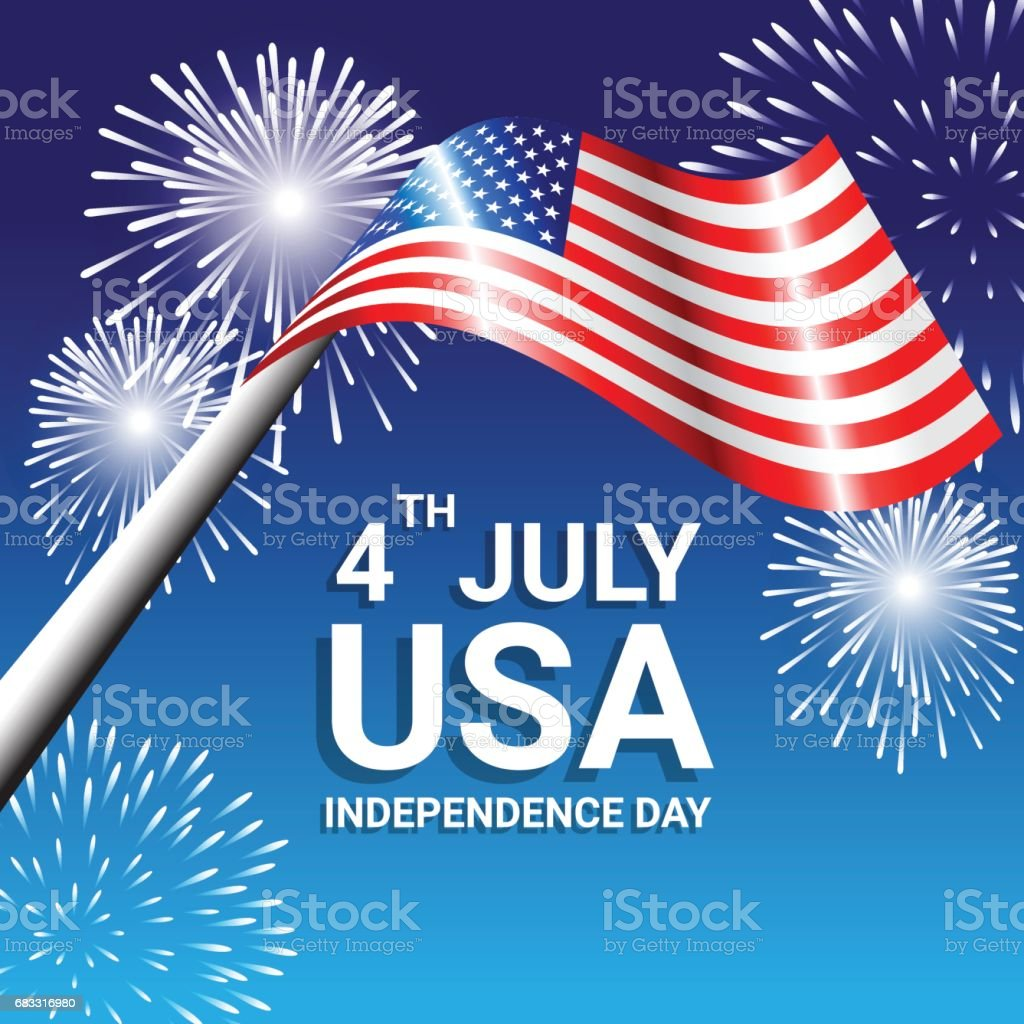 American Flag with fireworks for Independence Day of USA american flag with fireworks for independence day of usa - immagini vettoriali stock e altre immagini di astratto royalty-free