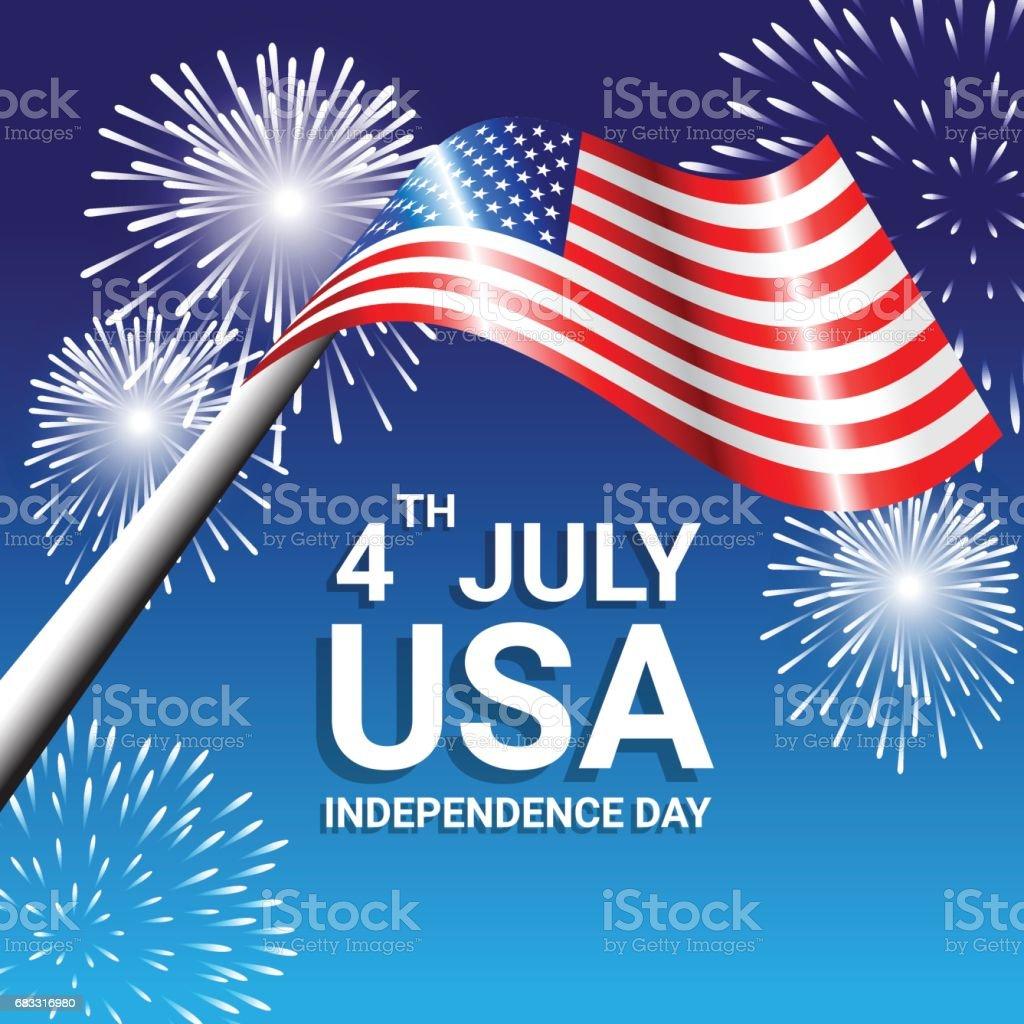 Drapeau américain avec feux d'artifice pour la fête de l'indépendance des USA drapeau américain avec feux dartifice pour la fête de lindépendance des usa – cliparts vectoriels et plus d'images de abstrait libre de droits