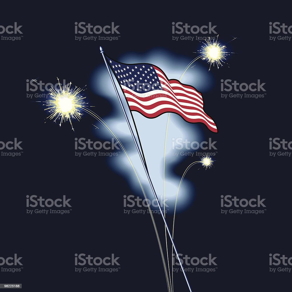 American Flag with Fireworks royalty-free american flag with fireworks stock vector art & more images of american flag