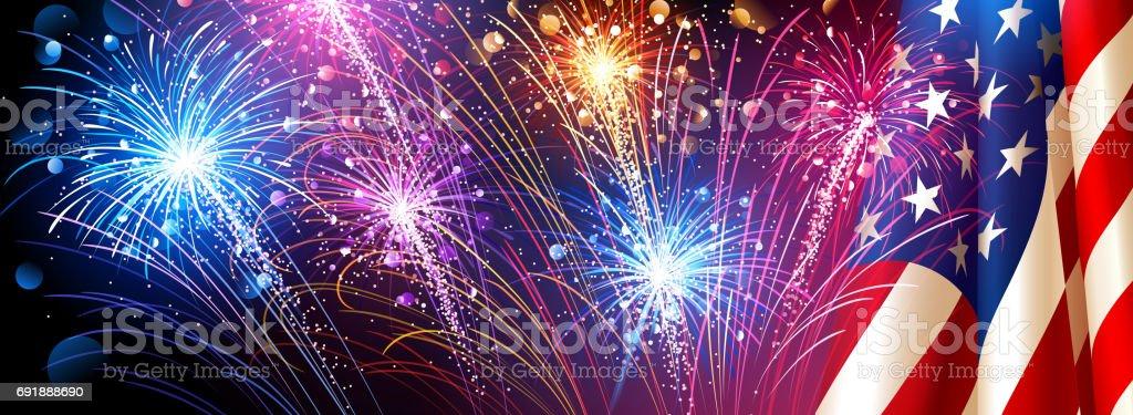 American flag with fireworks. Vector vector art illustration