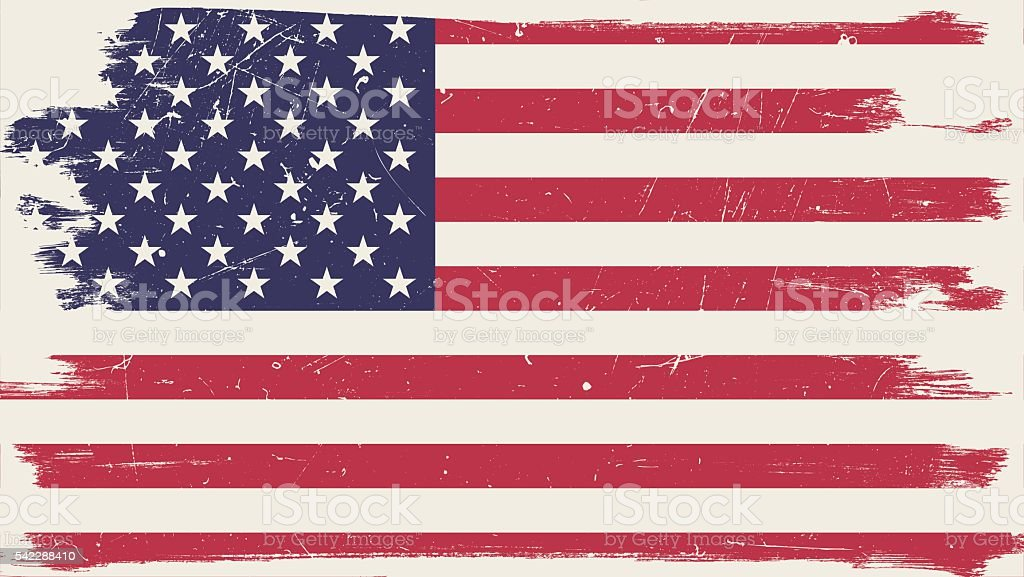 American flag with grunge frame vector art illustration