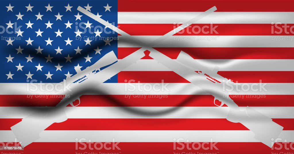 American flag with rifles