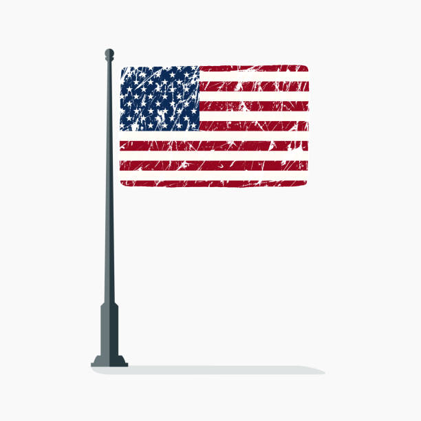 American flag with scratches, vector flag of America, USA symbol with shadow over light background. American flag with scratches, vector flag of America, USA symbol with shadow over light background. flagpole stock illustrations