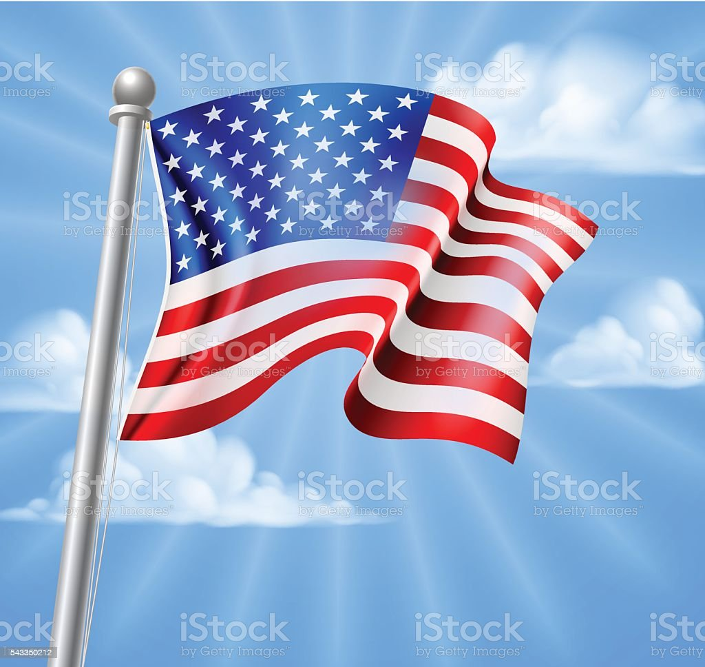 American Flag With Sky vector art illustration