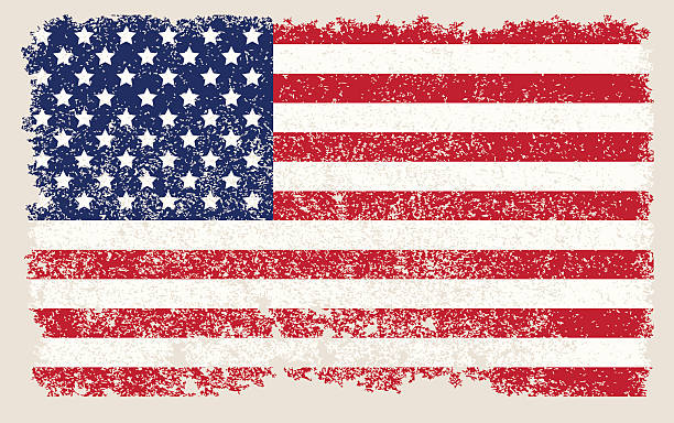 American Flag With Stars And Stripes In A Faded Grunge Style Vector Art Illustration