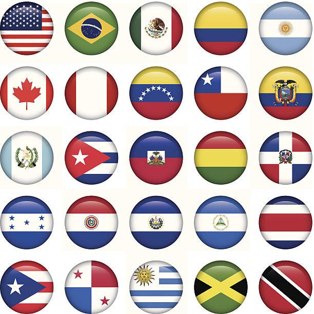 amerikanische flaggen runden symbole - flagge ecuador stock-grafiken, -clipart, -cartoons und -symbole