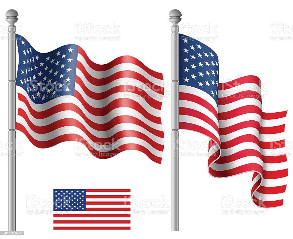 American Flags Waving vector art illustration