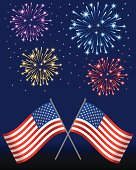 Illustration of American Flags with Fireworks at the Back (Pdf(6) and Ai(8) files are included)
