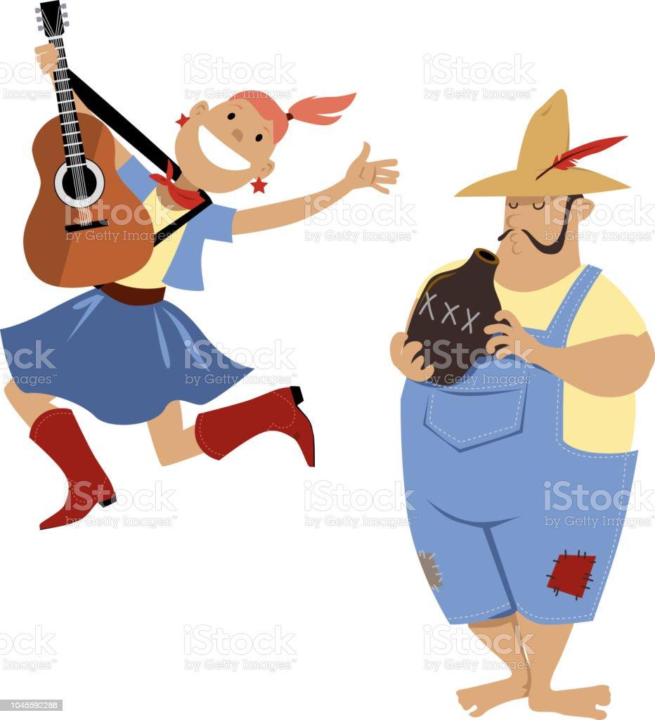 American folk music vector art illustration