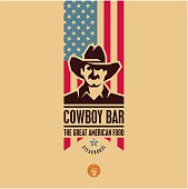American food bar label, cowboy