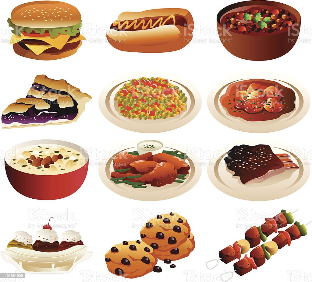 American food icons vector art illustration