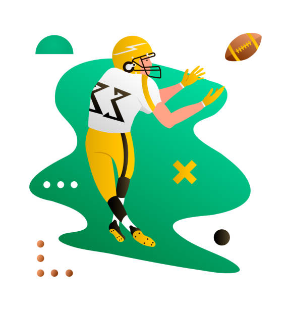 American foorball player catching the ball. Cartoon character. Creative vector illustration American foorball player catching the ball. Cartoon character. Creative vector illustration wide receiver athlete stock illustrations