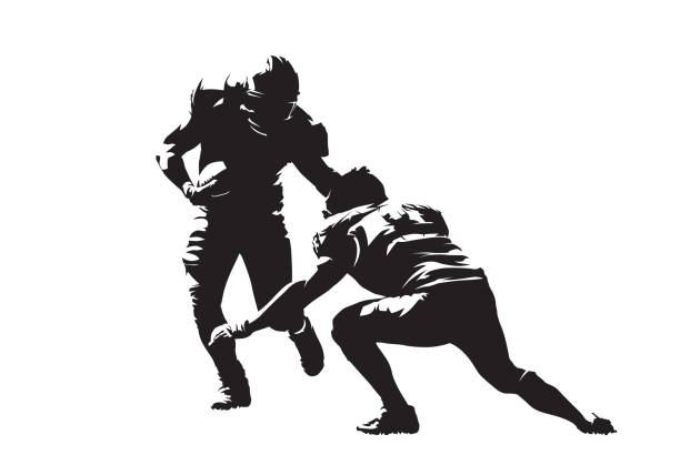 American football action, two players. Isolated vector silhouette, ink drawing American football action, two players. Isolated vector silhouette, ink drawing quarterback stock illustrations