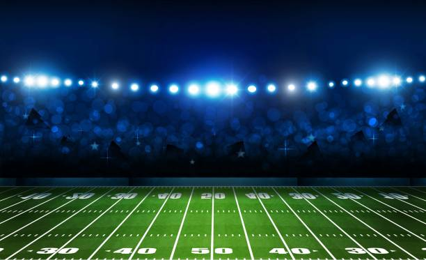 American football arena field with bright stadium lights design. Vector illumination vector art illustration