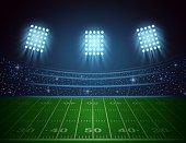 Vector illustration of American football arena with bright stadium lights design