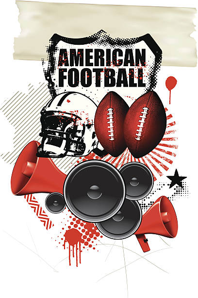 american football background with many objects vector art illustration