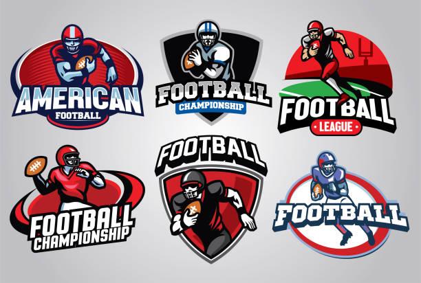 ilustrações, clipart, desenhos animados e ícones de conjunto de design de distintivo de futebol americano - equipe esportiva