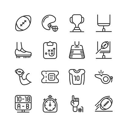 American Football, Ball, Helmet, Winner Cup, Goal, Cleats Icons