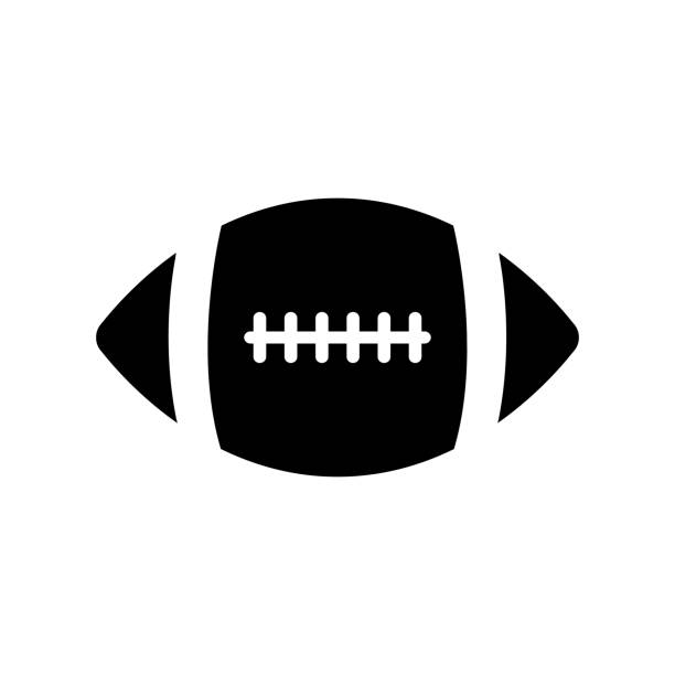 american football ball icon on white background - footbal stock illustrations